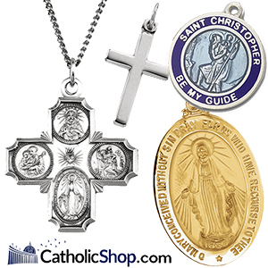 St Sophia Medal in Fine Pewter 18 Rhodium Plated Clasp Chain 3//4 tall