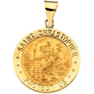 Chridtopher medal  pendant 10K gold 14.3 mm St