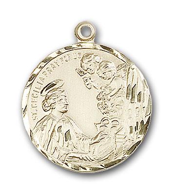 14K Gold St. Cecilia Pendant - Engravable