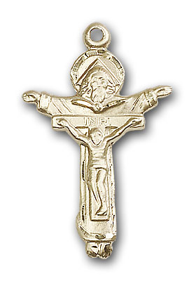 14K Gold Trinity Crucifix Pendant