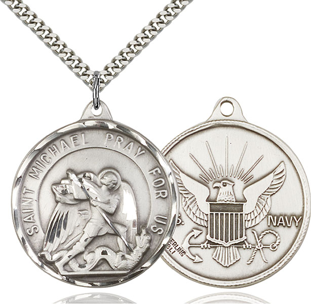 Sterling Silver St. Michael / Navy Pendant