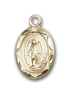 14K Gold Etched Miraculous Medal