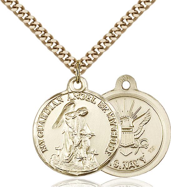 Gold-Filled Guardain Angel / Navy Pendant