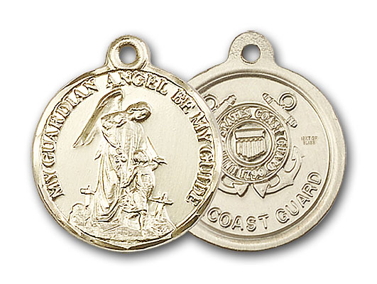 14K Gold Guardain Angel / Coast Guard Pendant