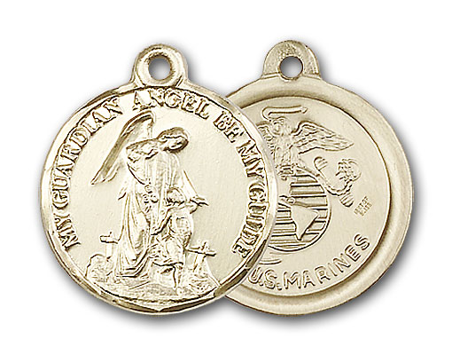 14K Gold Guardain Angel / Marines Pendant