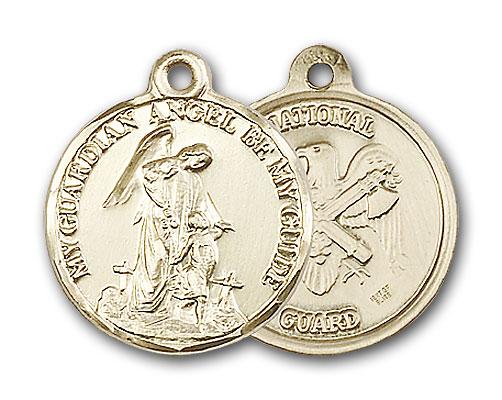 14K Gold Guardain Angel & National Guard Pendant