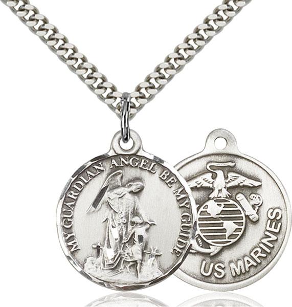 Sterling Silver Guardain Angel / Marines Pendant