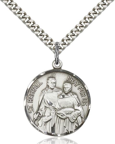 Sterling Silver St. Raphael the Archangel Pendant