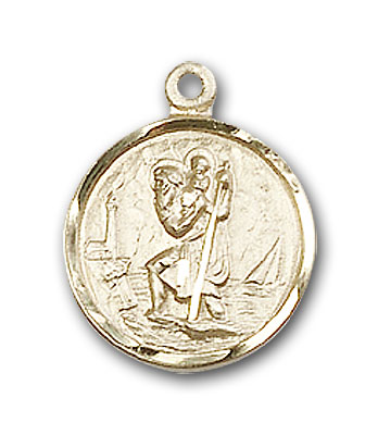 Small Round Gold-Filled St. Christopher Pendant - Engrave it!