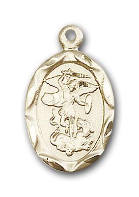 14K Gold St. Michael the Archangel Pendant - Engravable