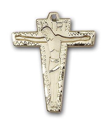 14K Gold Primative Crucifix Pendant