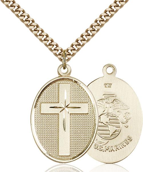Gold-Filled Cross / Marines Pendant