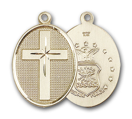 14K Gold Cross / Air Force Pendant