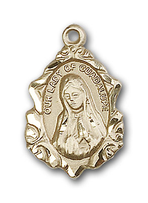 14K Gold Our Lady of Guadalupe Pendant - Engravable