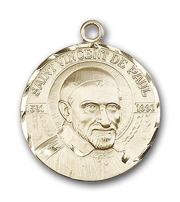 14K Gold St. Vincent De Paul Pendant - Engravable