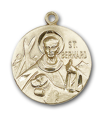 14K Gold St. Bernard of Clairvaux Pendant - Engravable