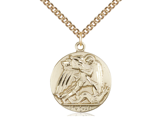 14k Gold St. Michael the Archangel Pendant w/ 24inch Gold Filled Chain