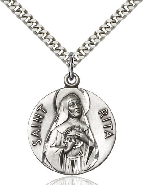 Sterling Silver St. Rita of Cascia Pendant