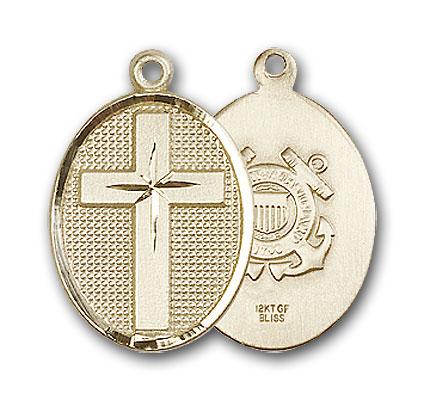 14K Gold Cross / Coast Guard Pendant