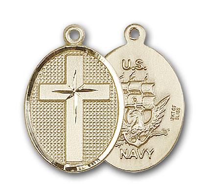 14K Gold Cross / Navy Pendant