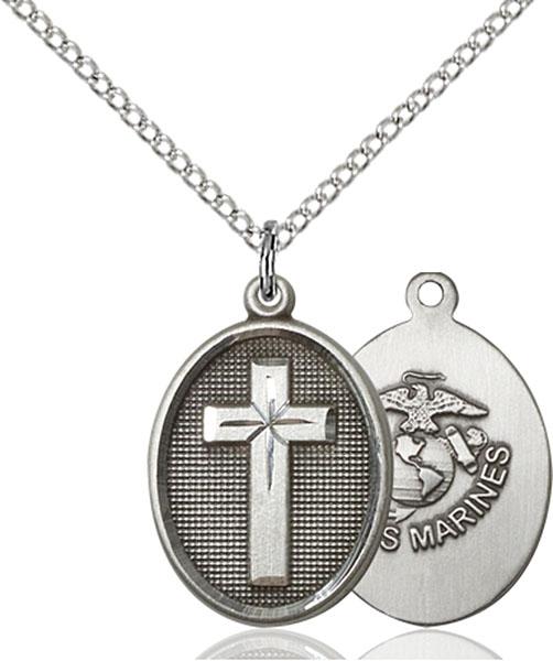 Sterling Silver Cross / Marines Pendant