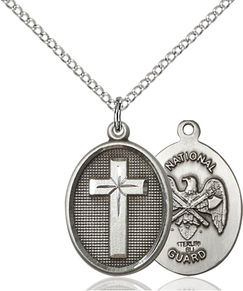 Sterling Silver Cross / National Guard Pendant