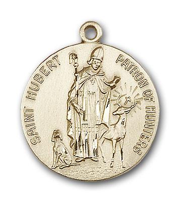 14K Gold St. Hubert of Liege Pendant - Engravable