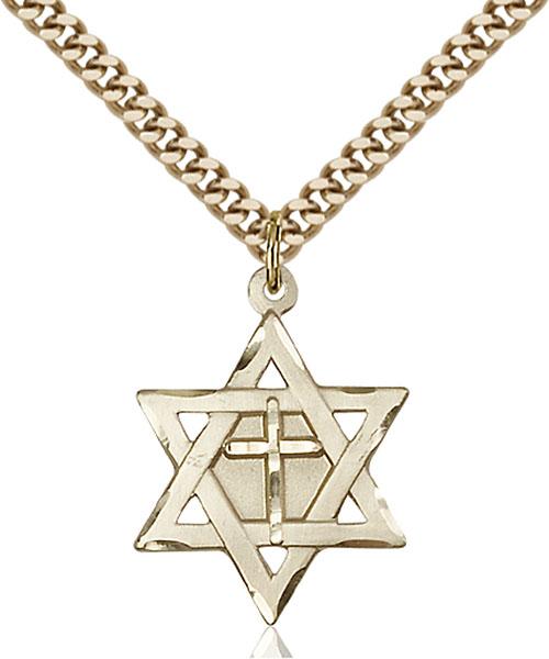 Gold-Filled Star of David W/ Cross Pendant