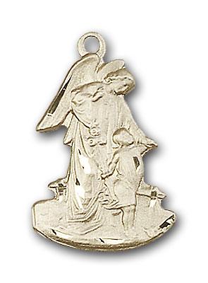 14K Gold Guardian Angel Pendant - Engravable