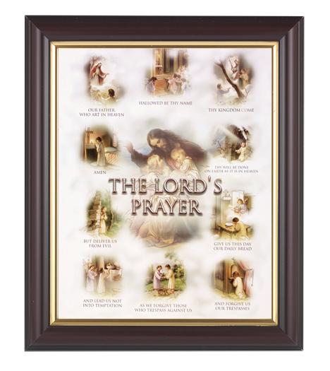 "Lords Prayer In Walnut Frame 10.25X12.25"" 8X10 Print"