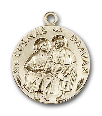 14K Gold Sts. Cosmos & Damian Pendant - Engravable