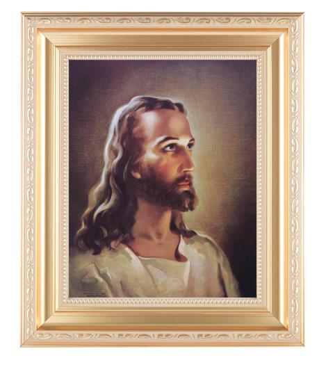"Head Of Christ In Satin Gold Frame 10.25X12.25"" 8X10 Print"