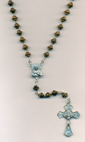 Silk Wood Men's Rosary with Sacred Heart Center and Crucifix Boxed