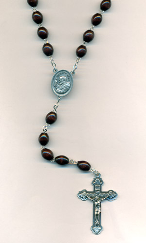 8mm Brown wood w/Padre Pio center and Crucifix