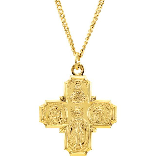 """24K Yellow Gold-Plated Sterling Silver Four-Way Cross 24"""" Necklace"""
