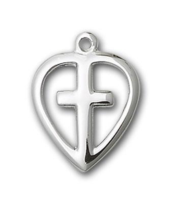Sterling Silver Heart / Cross Pendant
