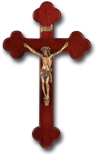 "10"" Dark Cherry Wood Cross With Museum Gold Corpus"