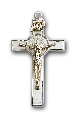 Two-Tone GF/SS St. Benedict Crucifix Pendant