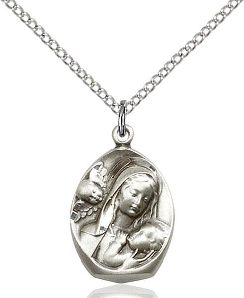 Sterling Silver Madonna & Child Pendant