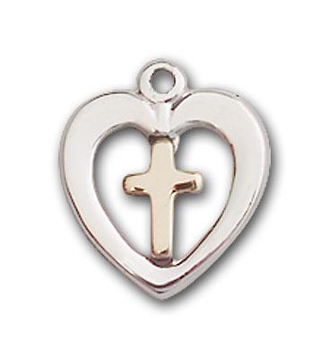 Two-Tone GF/SS Heart / Cross Pendant