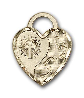 14K Gold Footprints Heart Pendant - Engravable