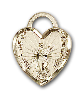 14K Gold Our Lady of Guadalupe Heart Pendant - Engravable