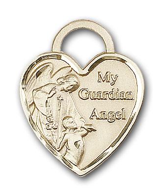 14K Gold Guardian Angel Heart Pendant - Engravable