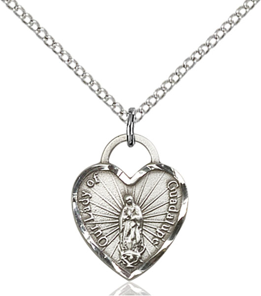 Sterling Silver Our Lady of Guadalupe Heart Pendant