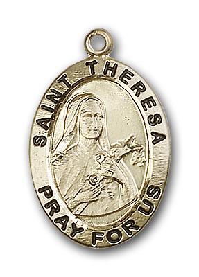 14K Gold St. Theresa Pendant - Engravable
