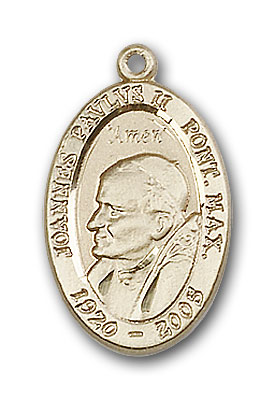 14K Gold Pope John Paul II Pendant - Engravable