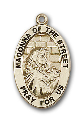 Gold-Filled Madonna of the Street Pendant