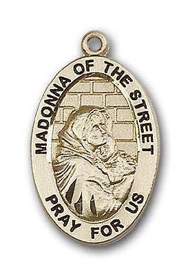 14K Gold Madonna of the Street Pendant - Engravable