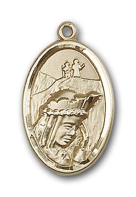14K Gold Our Lady of La Salette Pendant - Engravable