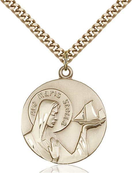 Gold-Filled Our Lady Star of the Sea Pendant
